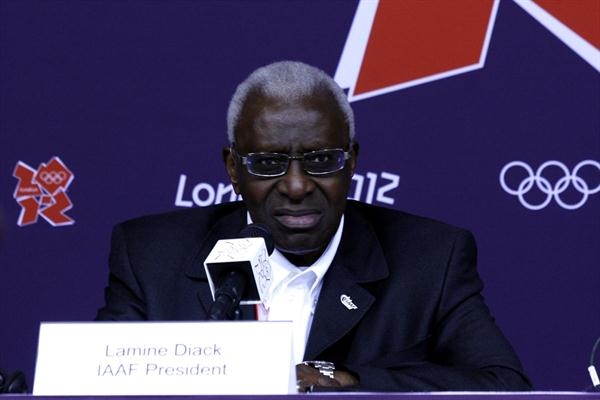IAAF President Lamine Diack at the IAAF Press conference in London (Bob Ramsak)
