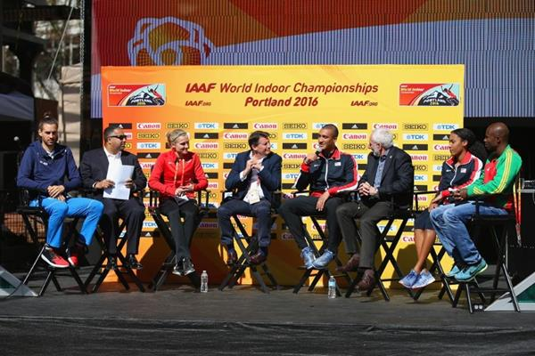 The pre-event press conference ahead of the IAAF World Indoor Championships Portland 2016 (Getty Images)