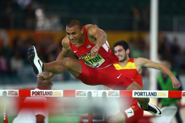 Ashton Eaton in the heptathlon 60m hurdles at the IAAF World Indoor Championships Portland 2016 (Getty Images)