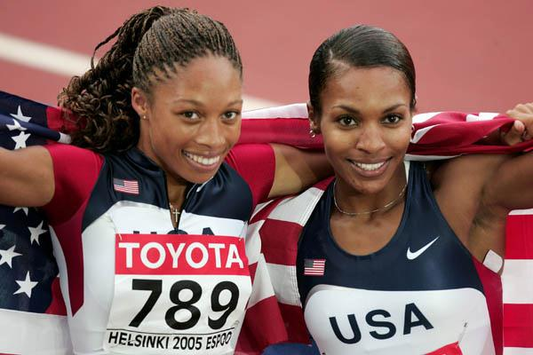 Allyson Felix and Rachelle Boone-Smith celebrate winning gold and silver in the women's 200m (Getty Images)