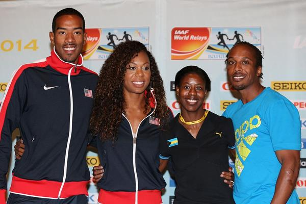 Christian Taylor, Sanya Richards-Ross, Christine Amertil and Chris Brown at the press conference ahead of the IAAF World Relays in Nassau (Getty Images)