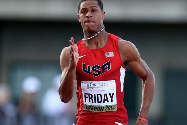 Trentavis Friday in the 200m at the IAAF World Junior Championships, Oregon 2014 (Getty Images)