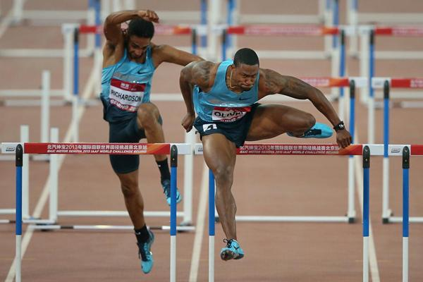 David Oliver of the USA, winner of the men's 110m Hurdles in Beijing (Getty Images)