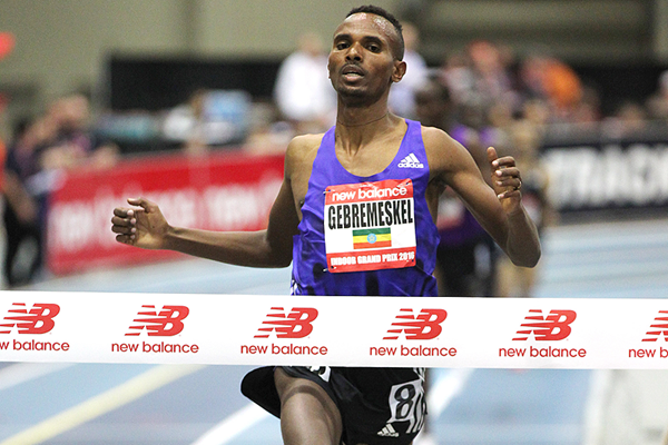 Dejen Gebremeskel wins the 3000m at the New Balance Indoor Grand Prix in Boston (Andrew McClanahan)