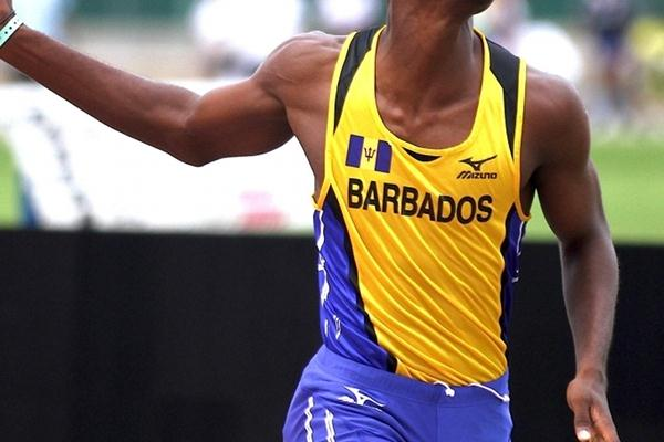 Jerrad Mason wins the U-17 CARIFTA 800m title in Montego Bay (Dean Greenaway)