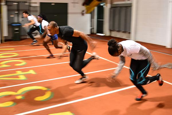 Ashton Eaton does sprint starts with the 'On Camp' athletes (Phil Johnson / TrackTown USA)