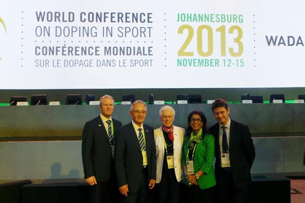 IAAF Delegation at the World Conference on Doping in Sport in Johannesburg including IAAF Council Members Abby Hoffman and Nawal El Moutawakel (IAAF)