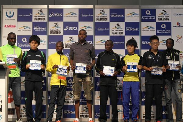 (L-R) Jairus Chanchima, Yuki Kawauchi, Samson Barmao, Robert Mwangi, Edwin Kiprop Korir, Taiga Ito, Kensuke Takahashi, Jacob Mwema Wanjuki ahead of the 2013 Gold Coast Marathon (organisers)