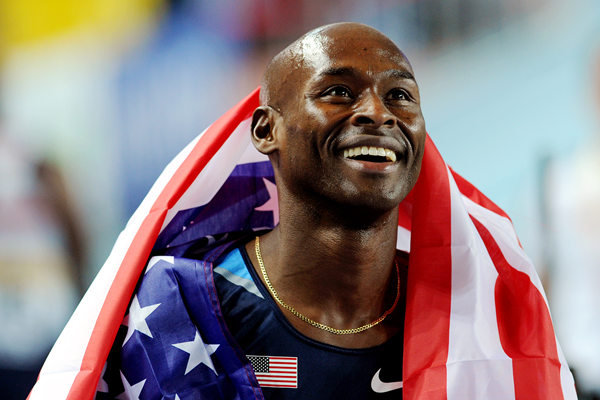 Bernard Lagat after winning his third world indoor 3000m title (AFP / Getty Images)