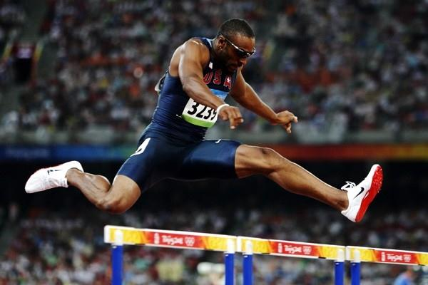 Angelo Taylor wins his second Olympic 400m hurdles gold, eight years after his first (Getty Images)