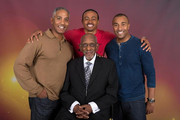 Hurdling legends, from left: Renaldo Nehemiah, Aries Merritt, Colin Jackson and Harrison Dillard at front (Philippe Fitte)