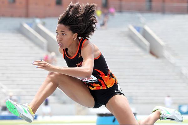 Kendell Williams in the 100m hurdles (Victah Sailer)