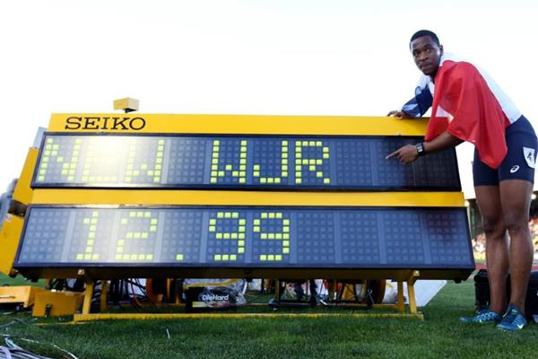 Wilhem Belocian with his 110m hurdles world junior record figures at the IAAF World Junior Championships, Oregon 2014 (Getty Images)
