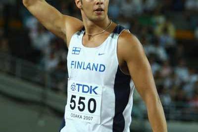 Tero Pitkamaki of Finland celebrates winning the Javelin Throw Final (Getty Images)