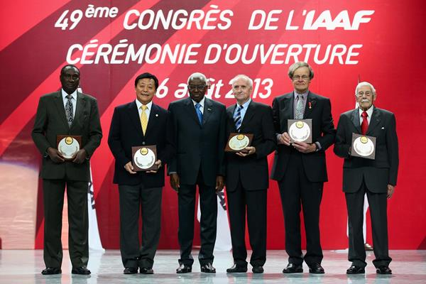 Lamine Diack with recipients of the IAAF Plaques of Merit: Isaiah Kiplagat, Du Zhaocai, Janez Aljancic, Rod Syme, and Eduardo Bernal (Getty Images)