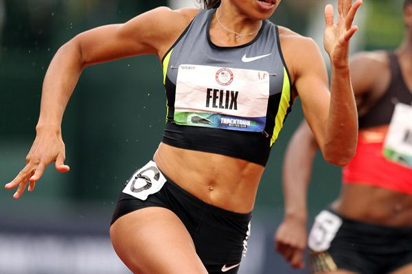 Allyson Felix en route to her 21.69 career best in Eugene (Getty Images)