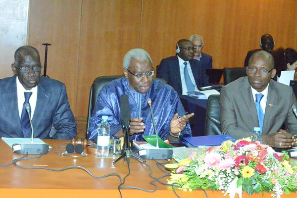 IAAF President Lamine Diack (centre) with Minister of Sport for Senegal, Mbagnick Ndiaye (left), and the President of the Senegal Athletics Federation, Momar Mbaye.  (IAAF)