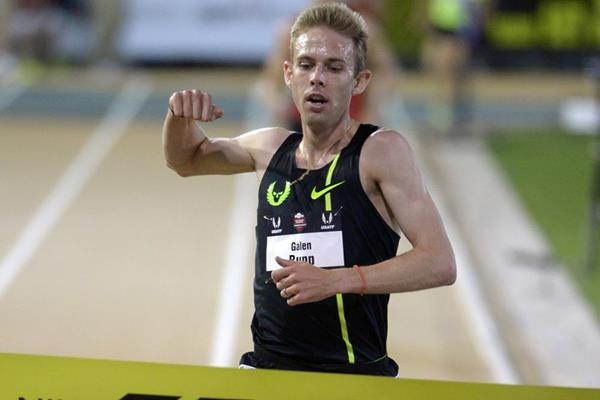 Galen Rupp wins the US 10,000m title in Sacramento (Kirby Lee)