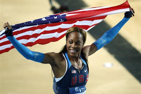 Sanya Richards-Ross of the United States celebrates being gold in the Women's 400 Metres Final during day two - WIC Istanbul (Getty Images)