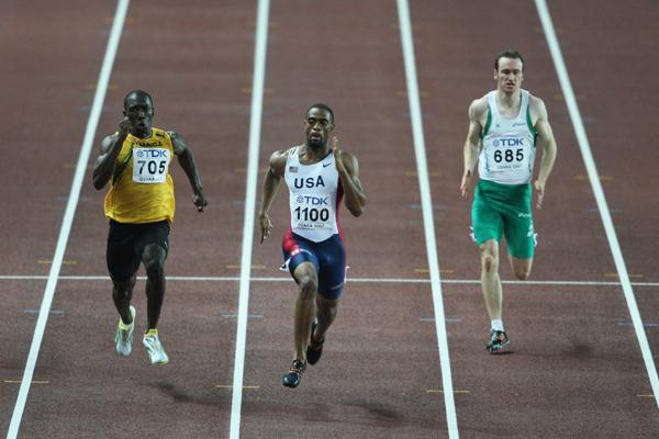 Tyson Gay of USA in action in the 200m Semi-Finals (Getty Images)