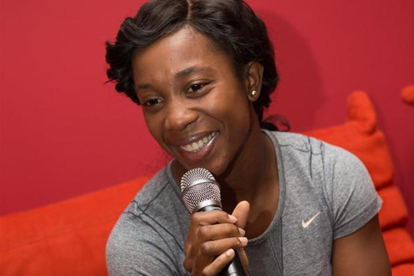 Shelly-Ann Fraser-Pryce talks to the press in Monaco (Philippe Fitte)