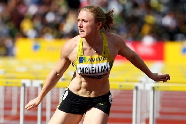Sally McLellan takes the 100m Hurdles victory in London (Getty Images)