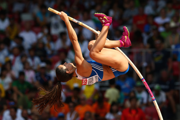 Ekaterini Stefanidi competes in the pole vault during the 2015 world championships ()