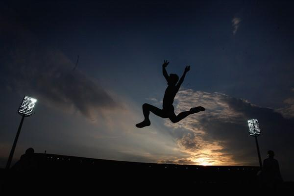 Fabrice Lapierre takes flight in the long jump to snatch victory with a wind-assisted 8.33m (Getty Images)