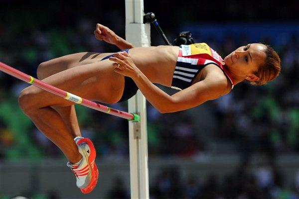 Jessica Ennis in the High Jump of the Heptathlon (Getty Images)