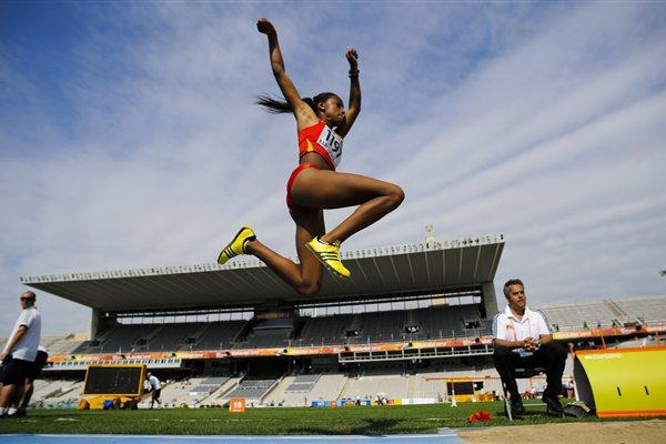 Ana Peleteiro of Spain competes during the Women's Triple Jump qualification round on the day two of the 14th IAAF World Junior Championships in Barcelona 2012 (Getty Images)