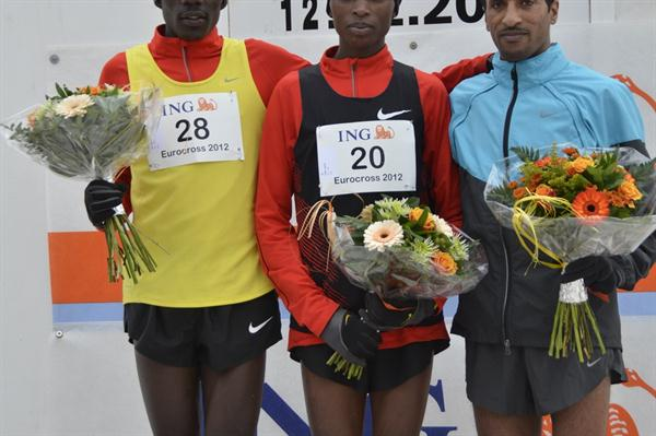 Men's podium at 2012 ING Eurocross meeting in Diekirch: runner-up Albert Rop, winner Japheth Korir and Tasama Dame (Rosch Kohl)