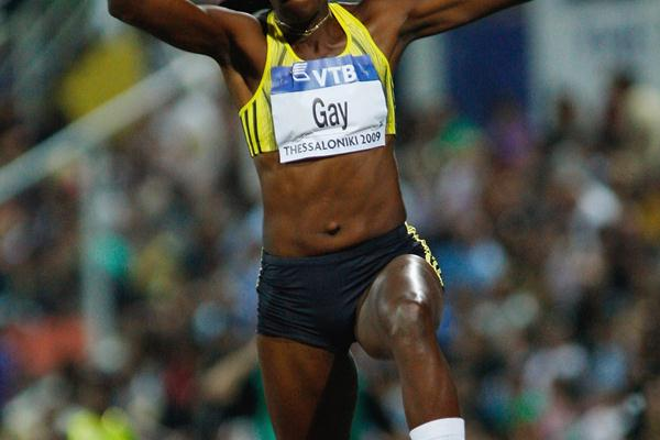 Mabel Gay leaps 14.62m to win the women's triple jump (Getty Images)
