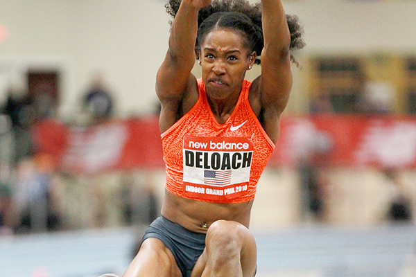Janay DeLoach in the long jump at the New Balance Indoor Grand Prix in Boston (Andrew McClanahan)