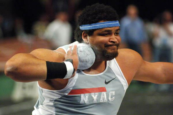 Reese Hoffa winning the shot put at the 2006 Millrose Games (Kirby Lee)