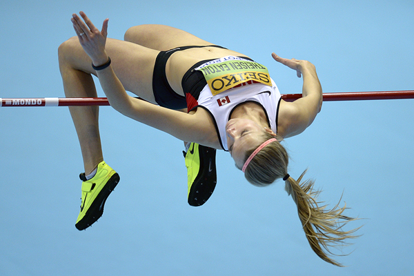 Brianne Theisen-Eaton in the pentathlon high jump at the IAAF World Indoor Championships (AFP / Getty Images)