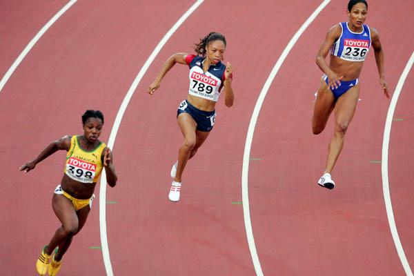 Allyson Felix of the US on her way to winning gold in the 200m (Getty Images)