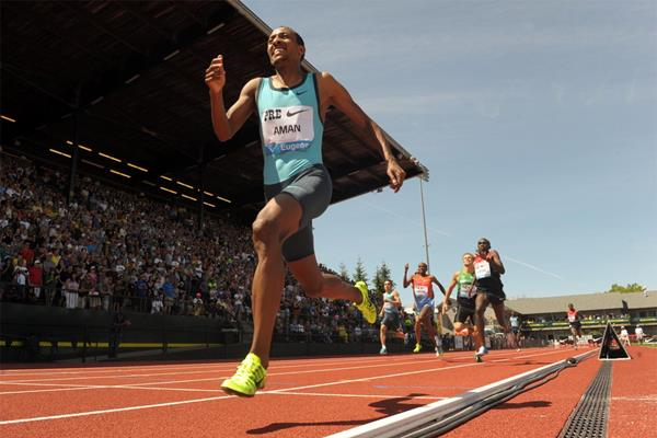 Mohammed Aman wins the 800m in Eugene (Kirby Lee)