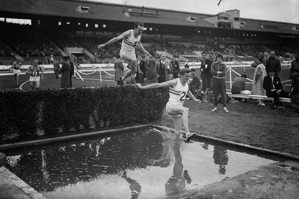 John Disley (leading) and Chris Brasher at a 1956 international meeting at White City (Getty Images)