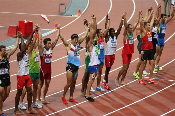 Athletes celebrate after the Men's Decathlon 1500m  of the London 2012 Olympic Games on August 9, 2012 (Getty Images)