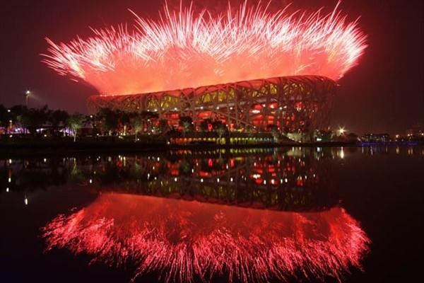 Olympic stadium - fireworks at opening ceremony (Getty Images)