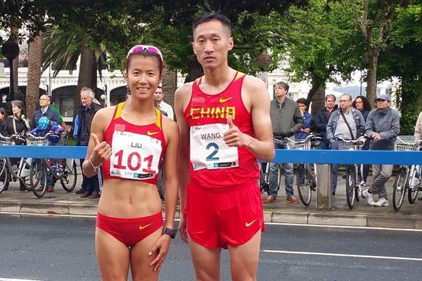 Liu Hong and Wang Zhen after winning at the the XXX Gran Premio Cantones de La Coruna 2016 (Organisers/ Federación Galega de Atletismo)
