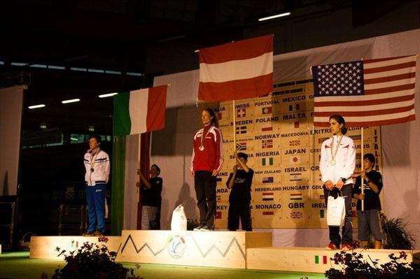 Women's podium at Ponte di Legno, from left: runner-up Valentina Bellotti (ITA), winner Andrea Mayr (AUT), and bronze medallist Morgan Arritola (USA) (WMRA)