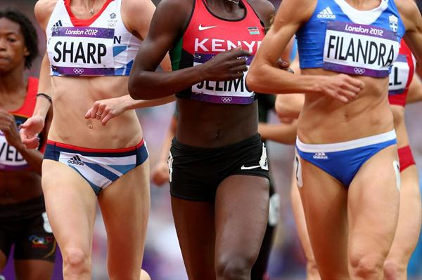 (L-R) Lynsey Sharp of Great Britain, Pamela Jelimo of Kenya and Eleni Filandra of Greece compete in the Women's 800m Round 1 Heats on Day 12 of the London 2012 Olympic Games on 08 August 2012 (Getty Images)