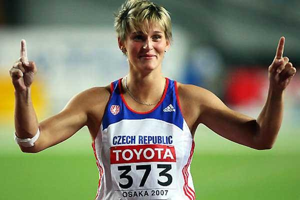 Barbora Spotakova (CZE) signals her win of the World Javelin Throw title (Getty Images)