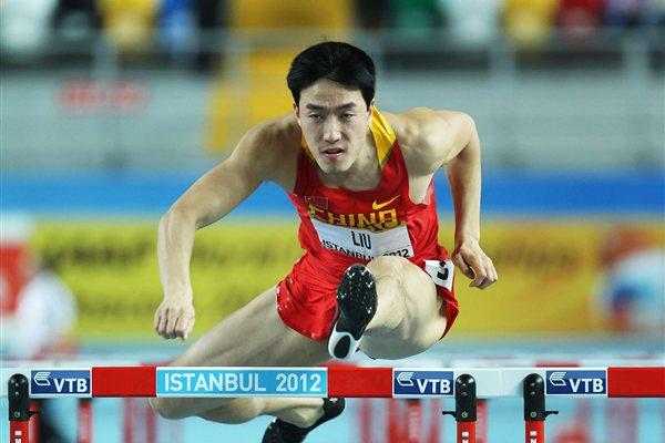 Lui Xiang of China competes in the Men's 60 Metres Hurdles first round during day two - WIC Istanbul (Getty Images)