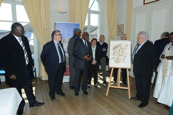 The civic reception in Champagnole Town Hall, where President Daick received a momento of his days in the town (IAAF)