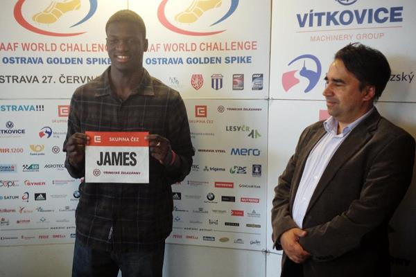 Kirani James and meeting manager Alfons Juck at the 2013 Ostrava Golden Spike press conference  (organisers)