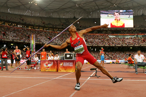 Ashton Eaton in the decathlon javelin at the IAAF World Championships Beijing 2015 (Getty Images)