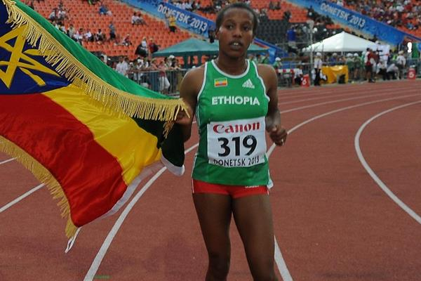 Ethiopia's Dawit Seyaum after taking 1500m silver at the 2013 IAAF World Youth Championships (Getty Images)