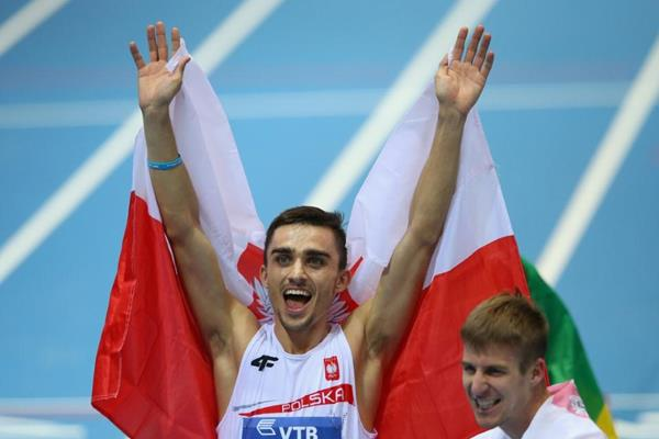 Adam Kszczot celebrates his silver medal in the 800m at the 2014 IAAF World Indoor Championships in Sopot (Getty Images)